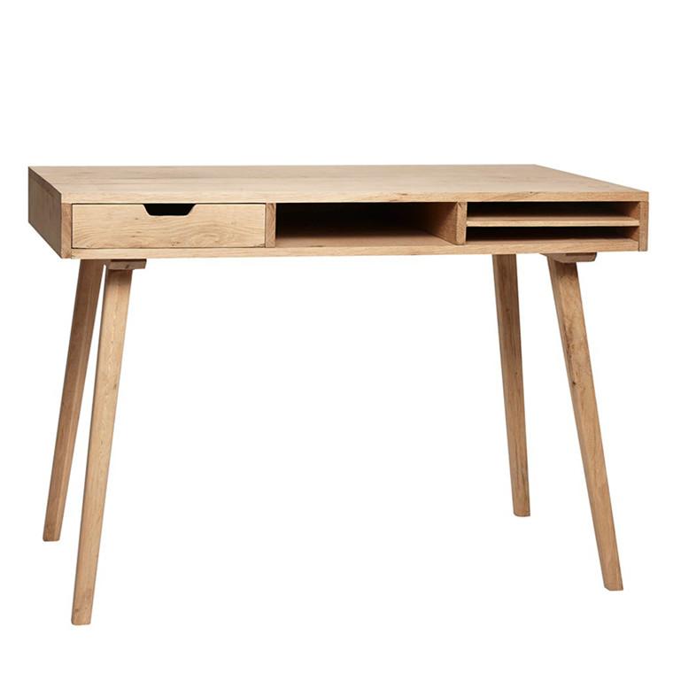 Hübsch Skrivebord m/rum, egetræ, natur