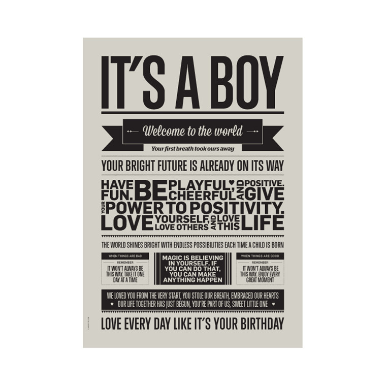 I Love My Type Plakat It's A Boy
