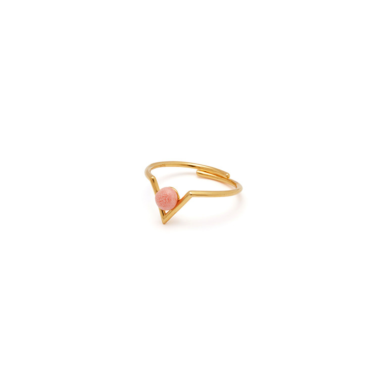 Louise Kragh Ring Inbetween Guld - Pink Koral
