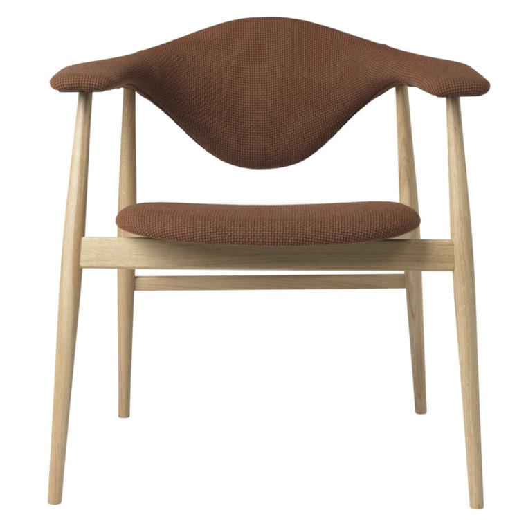 Gubi Masculo Spisebordsstol Egetræsstel Polstret Rødbrun