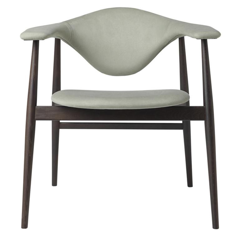 Gubi Masculo Spisebordsstol Brændt Egetræsstel Polstret Grågrøn