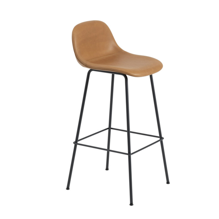 Muuto Fiber Bar Stool Tube Backrest Cognac Silk Læder