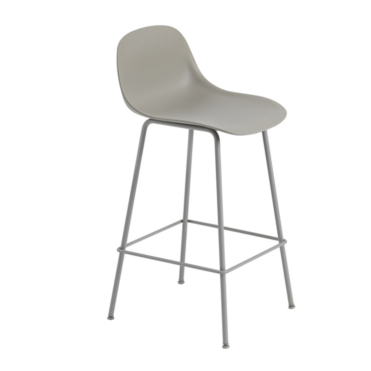 Muuto Fiber Bar Stool Tube Backrest Grå/Grå