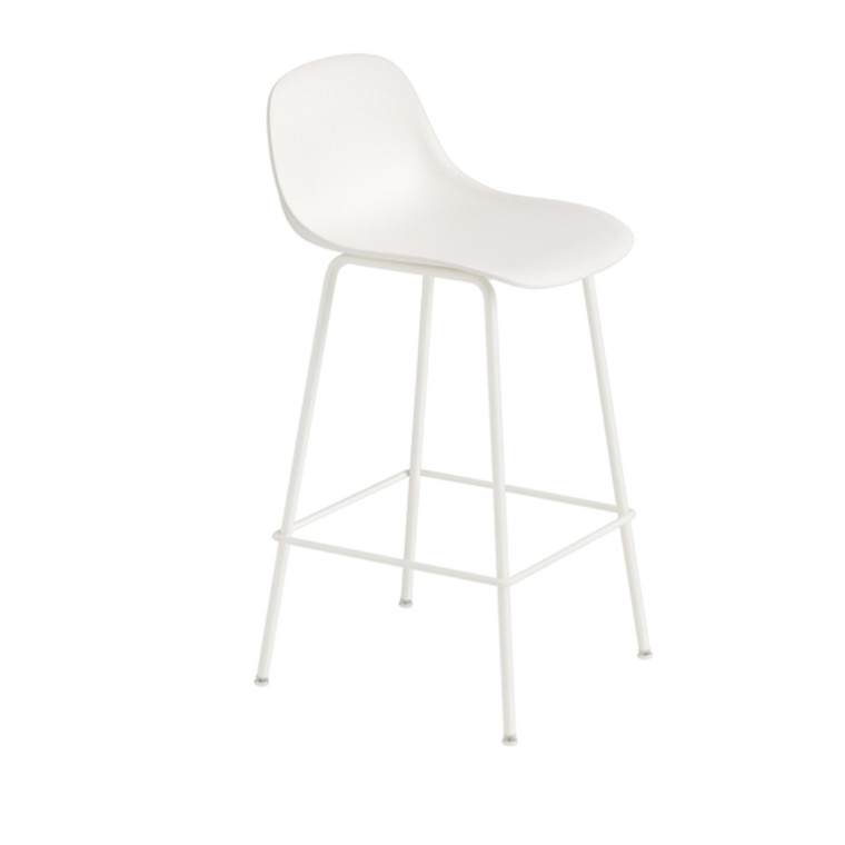 Muuto Fiber Bar Stool Tube Backrest Hvid/Hvid