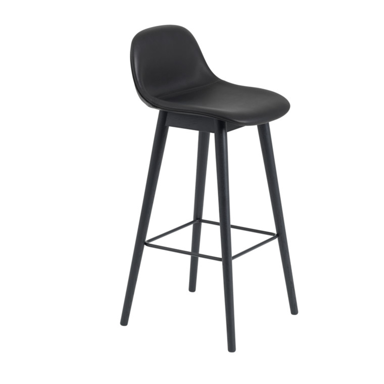 Muuto Fiber Bar Stool Wood Base Silk Læder Sort