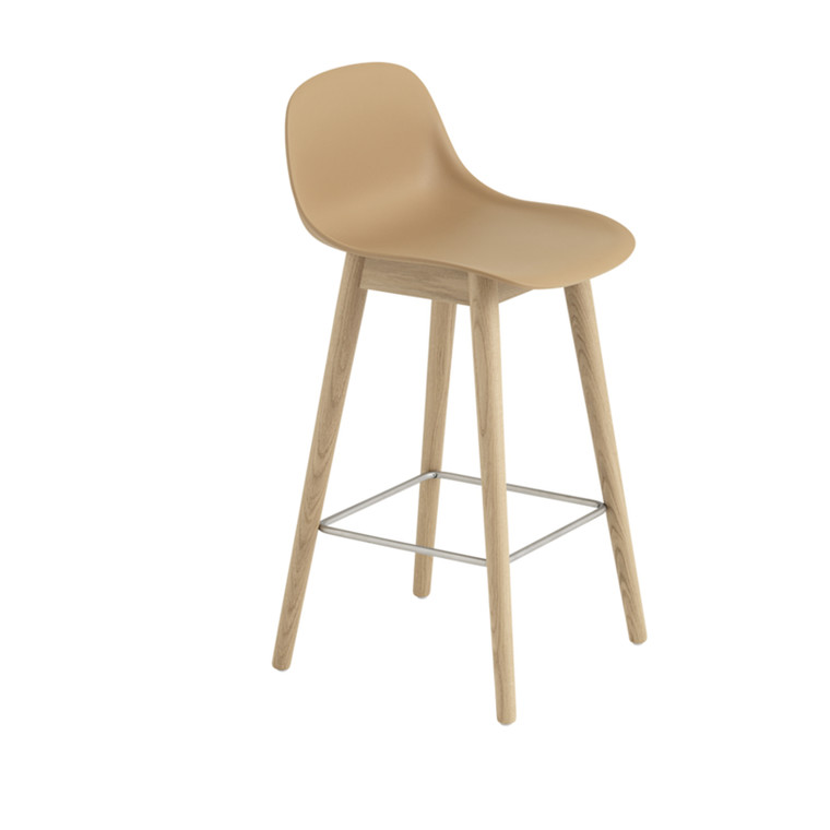 Muuto Fiber Bar Stool Wood Base Backrest Okker