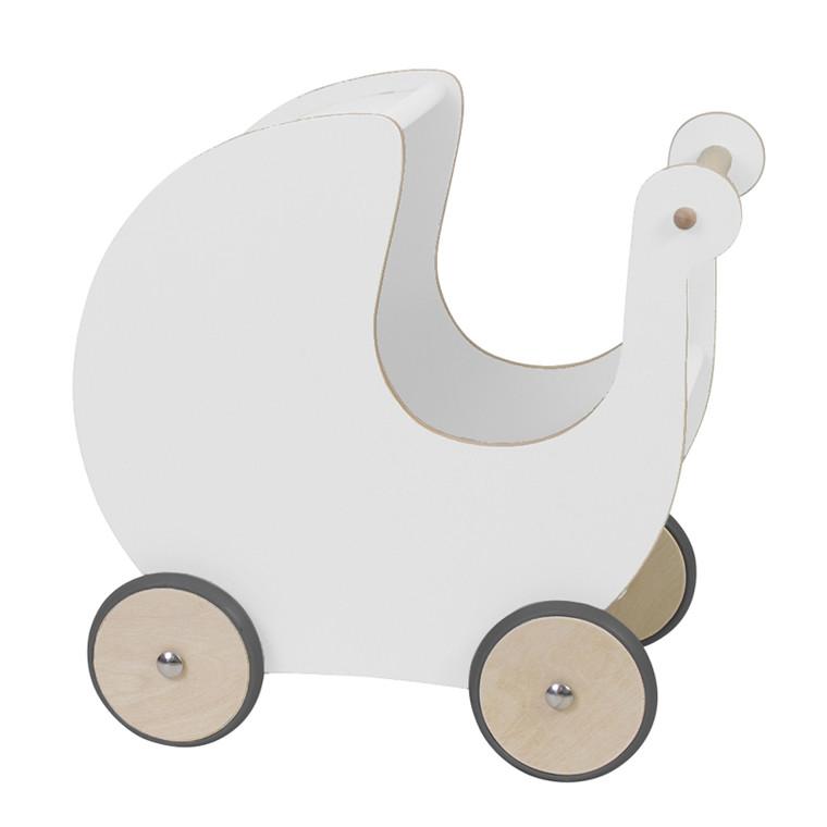 Sebra Dukkevogn i Træ Hvid