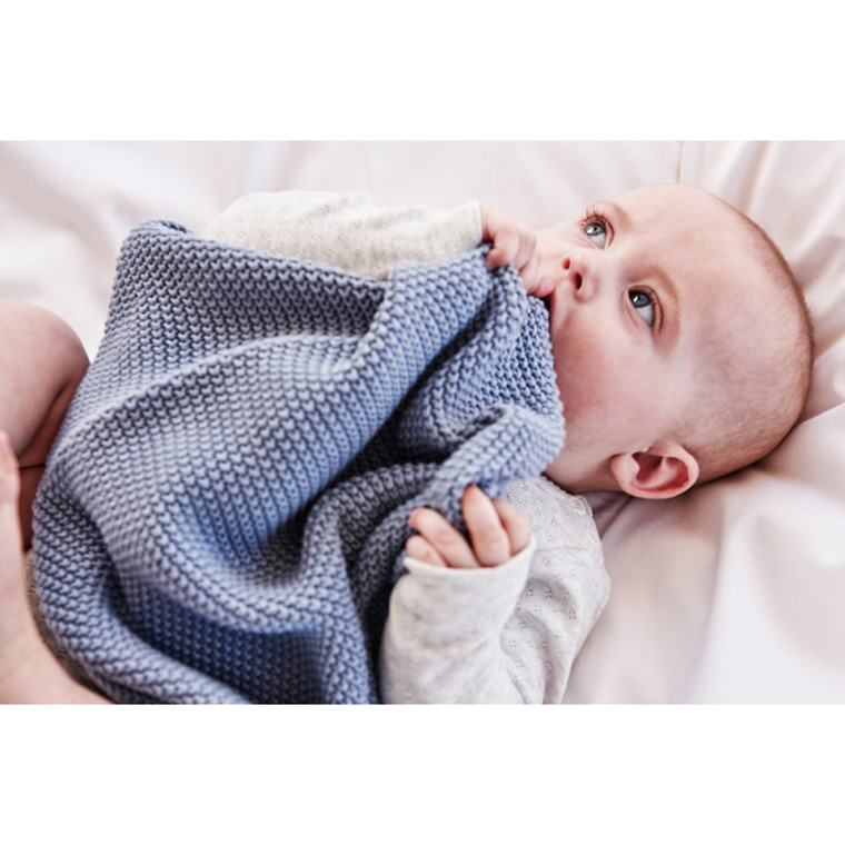 SemiBasic Baby plaid perlestrik Støvet blå