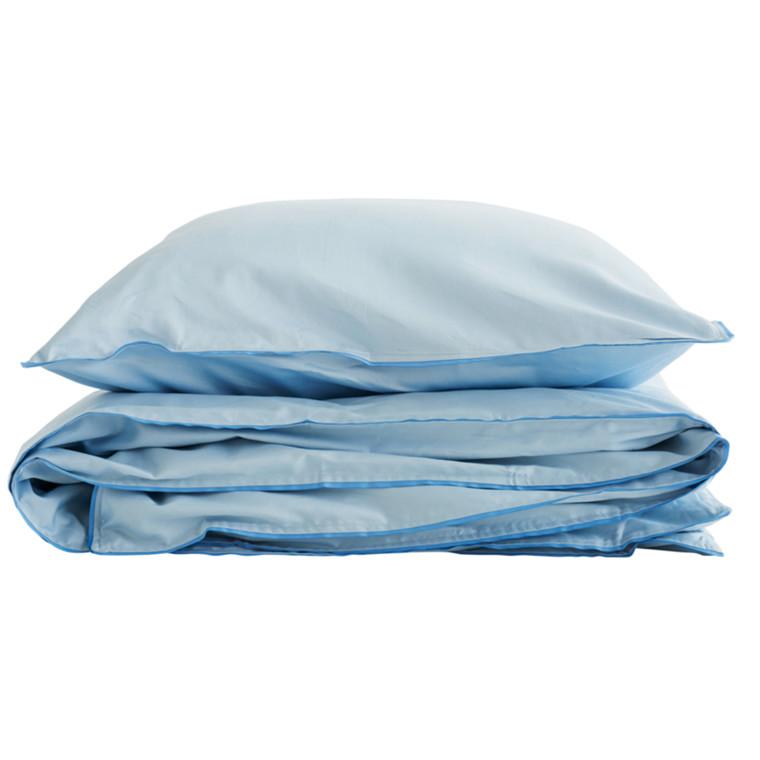 SemiBasic Sengetøj Blå med blå kant 140x200 cm