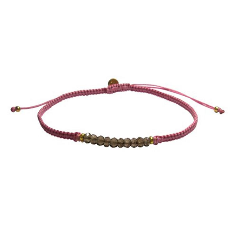 Stine A Candy Bracelet Røgquartz Og Pink Bånd