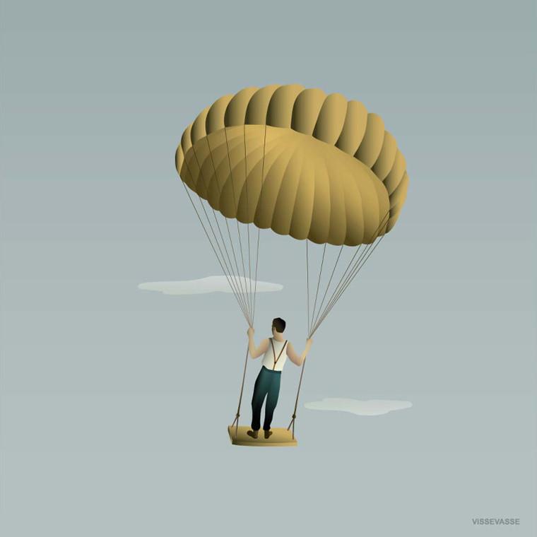 Vissevasse Man In The Sky Plakat 40x40