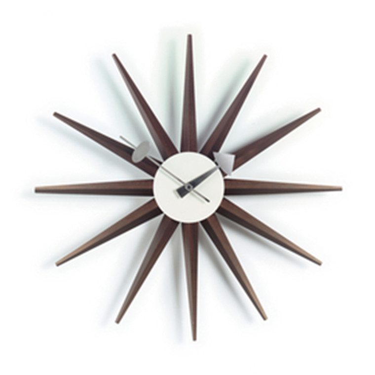 Vita Sunburst Clock i walnut