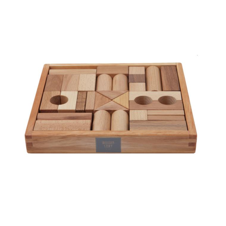 Wooden Story Byggeklodser - Natur 30 stk.