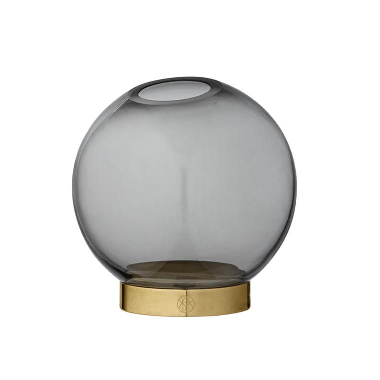 AYTM Globe Rund Glas Vase Grå Lille