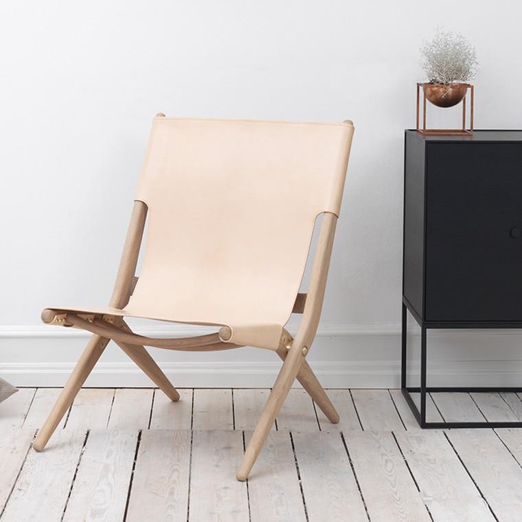 By Lassen Saxe stol i natur eg med natur læder