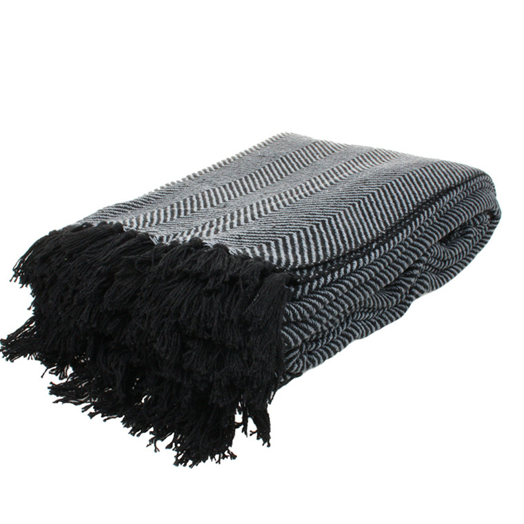 Cozy Room Sengetæppe Sildeben Mørk grå og sort