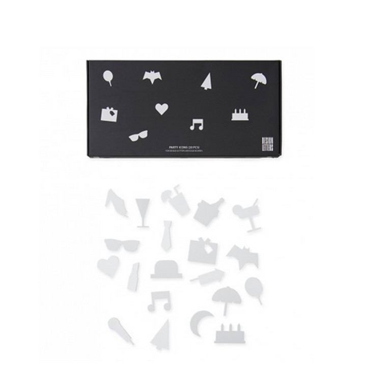 Design Letters Party icons for Message Boards Hvid