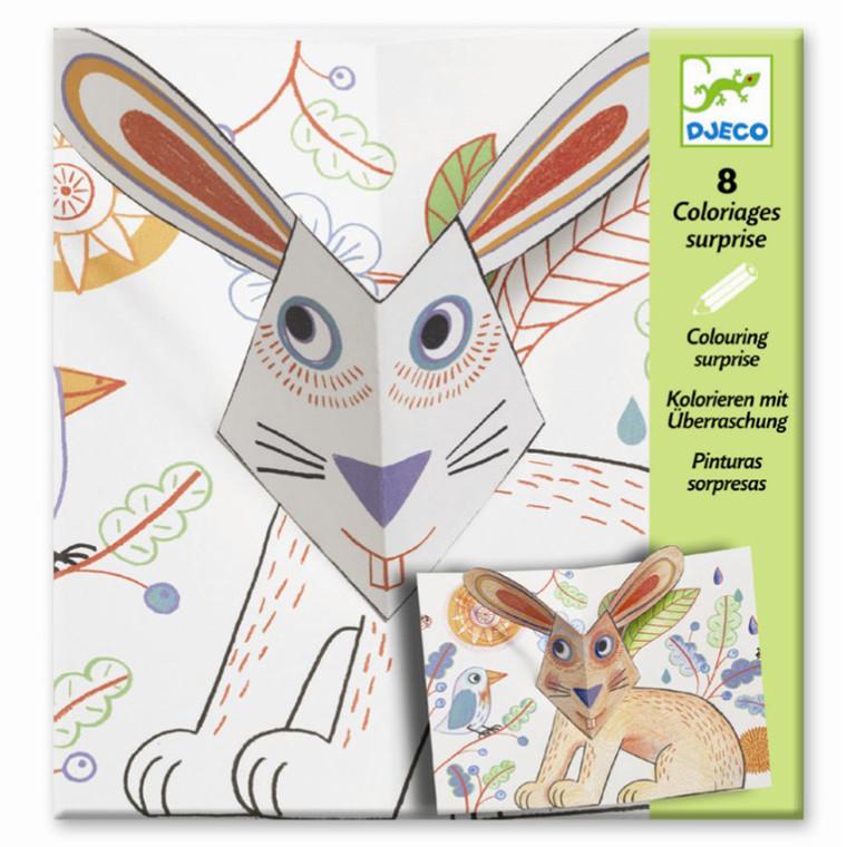 Djeco Farvelægningsoverraskelser - Kanin og venner