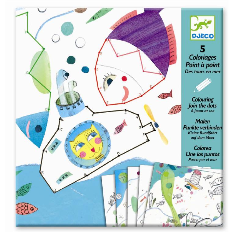 Djeco Prik-til-prik maleark - Tur i havet