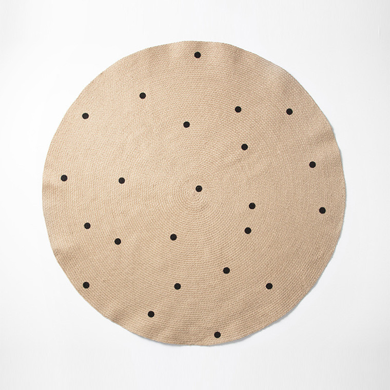 Ferm Living Jute Tæppe Black Dots