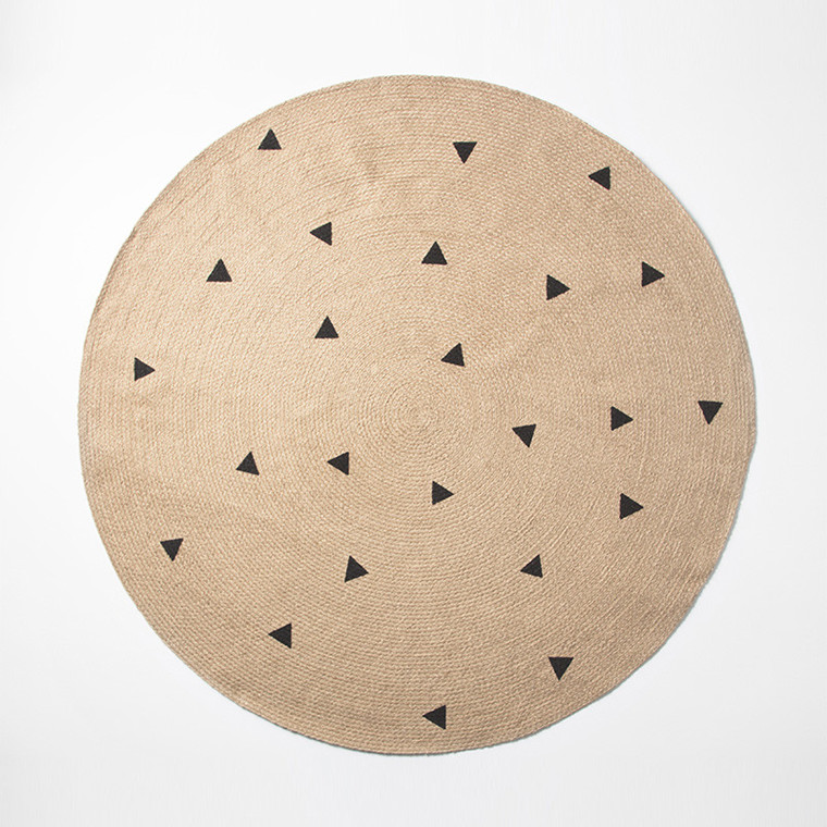 Ferm Living Jute Tæppe Black Triangles