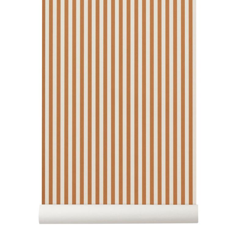 Ferm Living Tapet Thin Lines Mustard/Råhvid