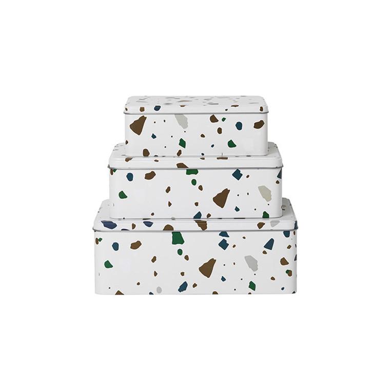 Ferm Living Tin Boxes Terrazzo Grå