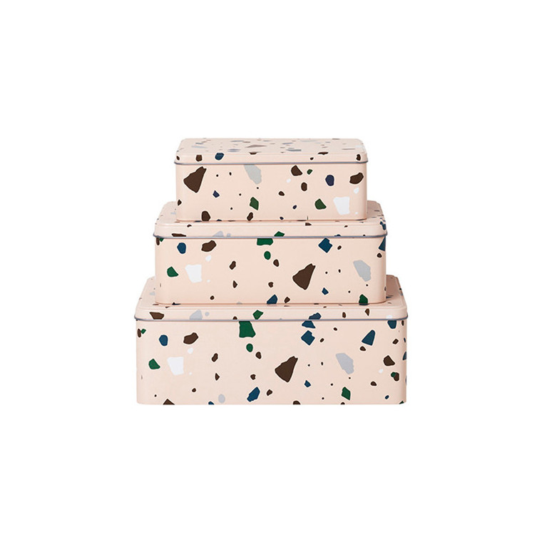Ferm Living Tin Boxes Terrazzo Rosa