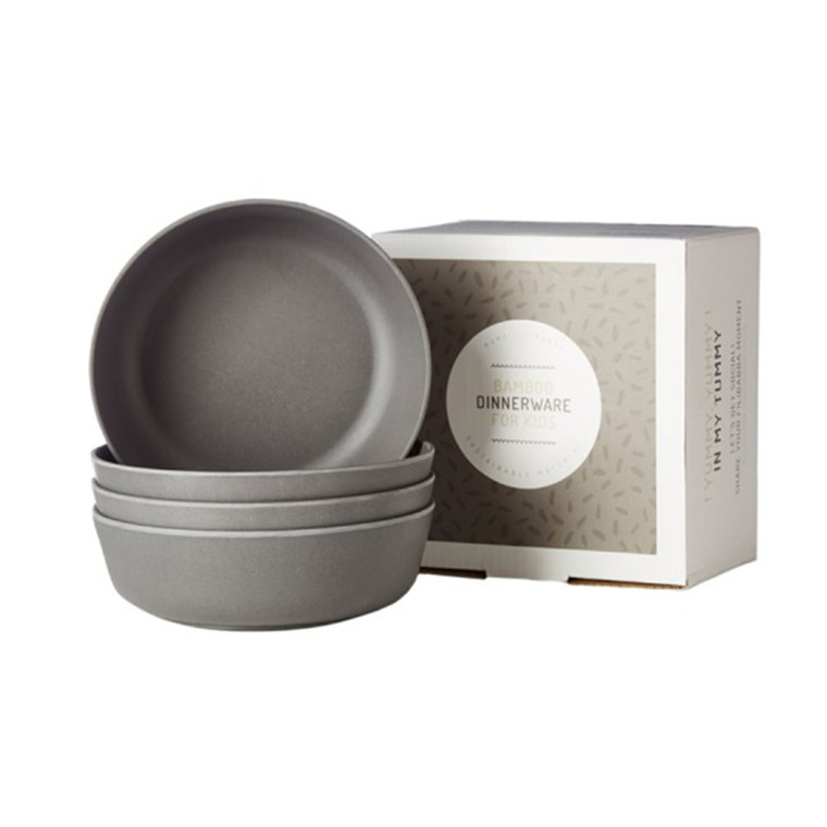 Filibabba Bambus skåle 4 pak, dark grey