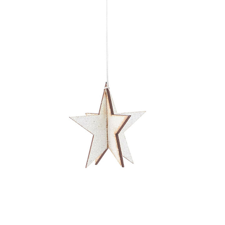 House Doctor Ornament Glitter Star Hvid