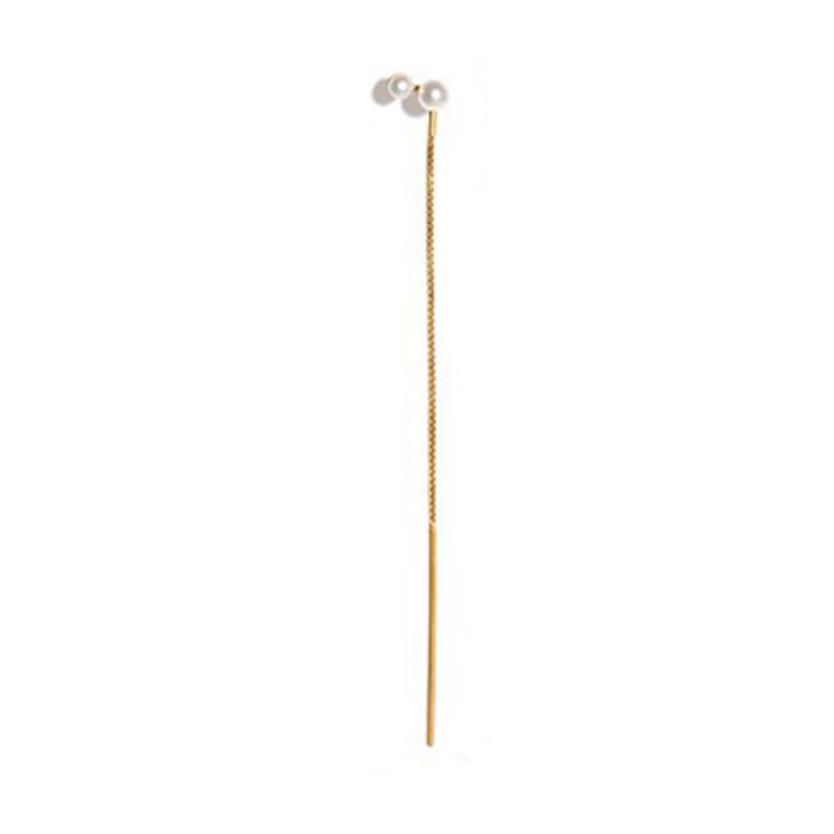 Jane Kønig Perleørering med kæde Guld