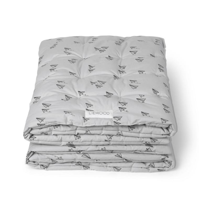Liewood Baby Quilt Paper Plane Grå