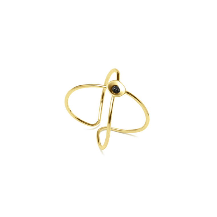 Louise Kragh Ring Embrace Guld-Sort