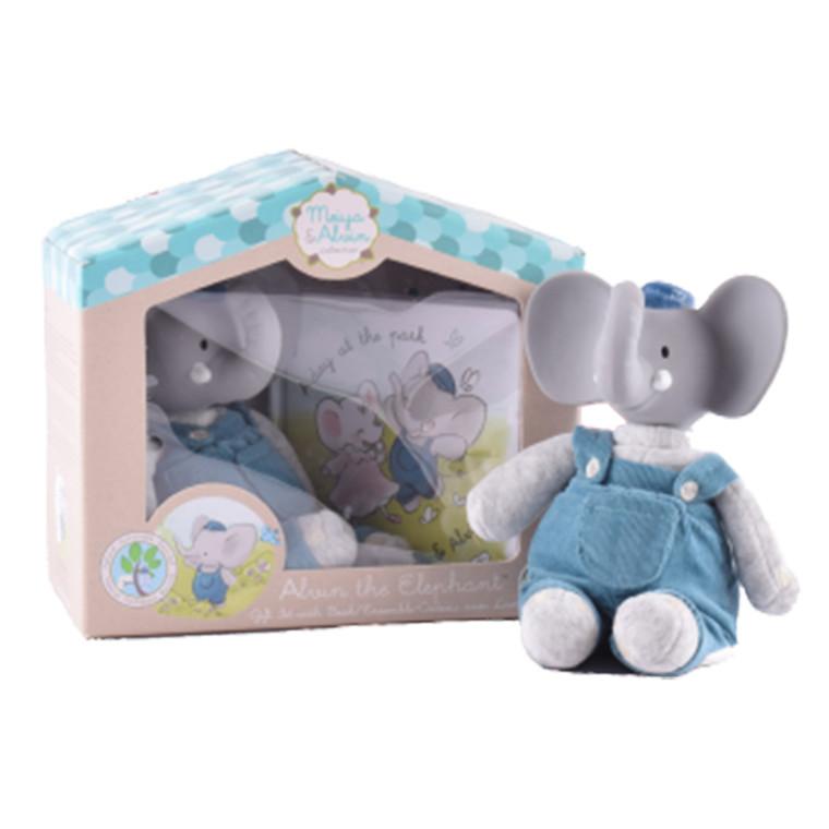 Meiya & Alvin - Bamse Mini Alvin Elefant med gummihoved og bog