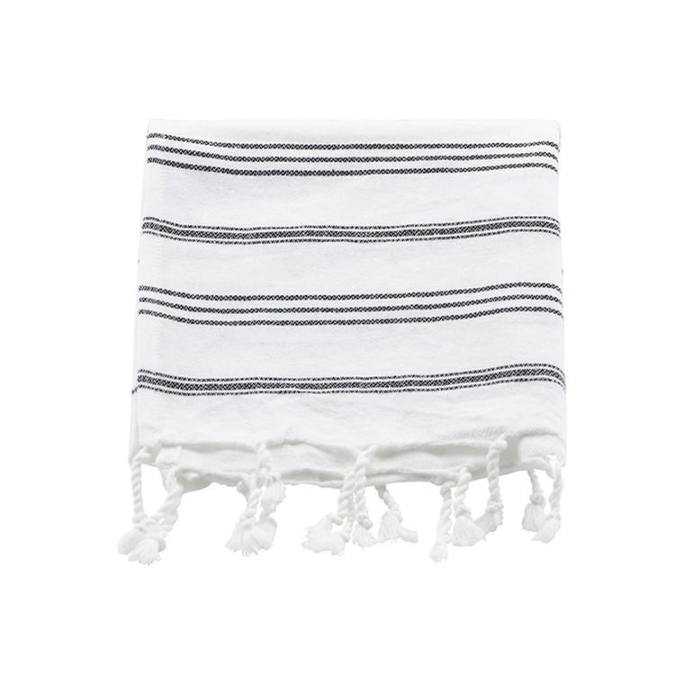 Meraki Hammam håndklæde Hvid m. sort striber