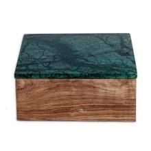 Nordstjerne Træ Skrin med Grøn Marmor Låg Stor