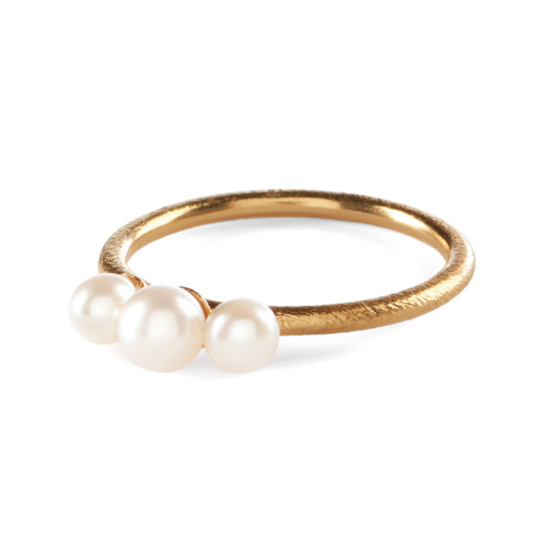 Pernille Corydon Ring 3 Pearls Forgyldt