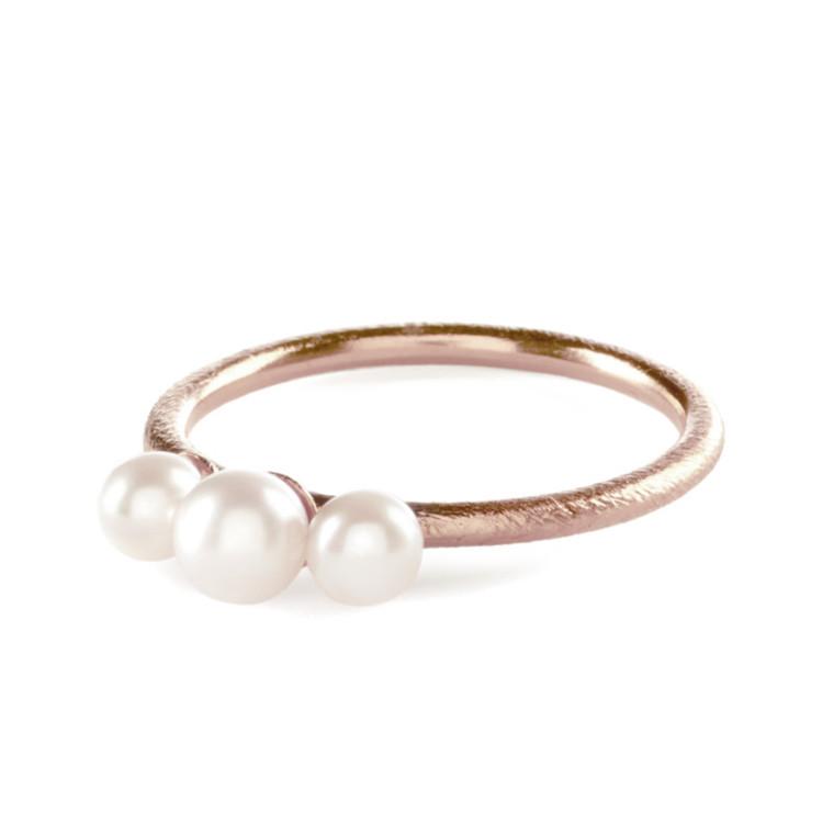 Pernille Corydon Ring 3 Pearls Rosa Guld