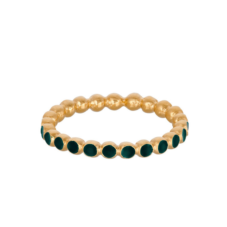 Pernille Corydon Ring Pixel Grøn Forgyldt
