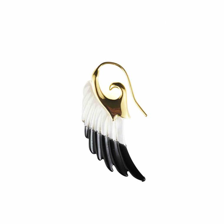 Plissé Copenhagen Ørering Angel Wing Stor Guld Dip Dye