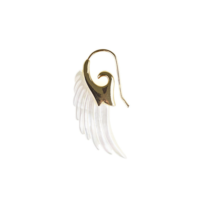 Plissé Copenhagen Ørering Angel Wing Stor Guld & Perlemor