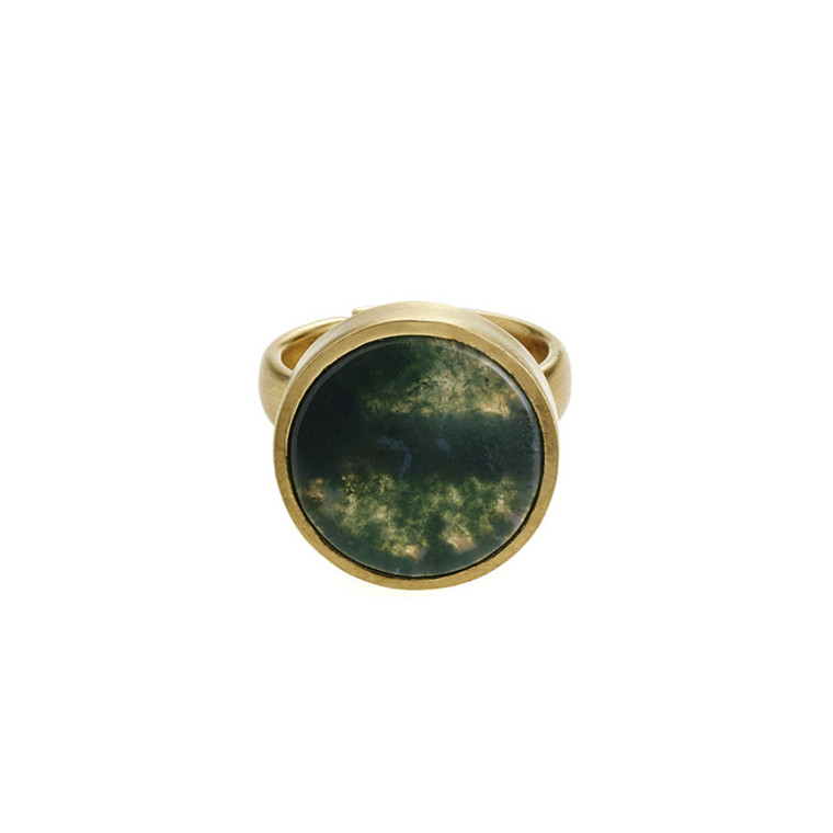 Plissé Copenhagen Ring Guld Moss Grøn Marmor