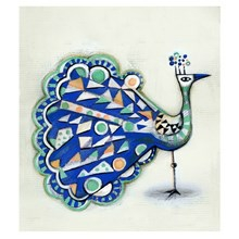 Sofie Børsting Illustration Blue Peacock 30x40