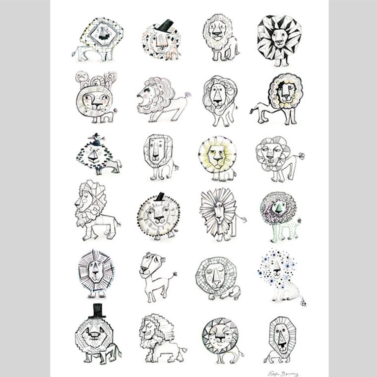Sofie Børsting 24 Lion Doodles Plakat