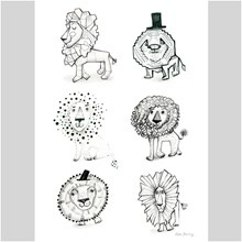 Sofie Børsting 6 Lion Doodles A3 Illustration