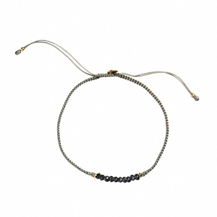 Stine A Candy Bracelet Black Spinel og Khakigrå Bånd