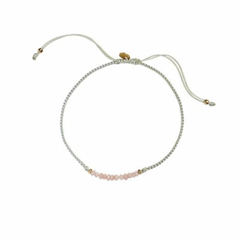 Stine A Candy Bracelet Dark Pink Opal Og Khakigrøn Bånd