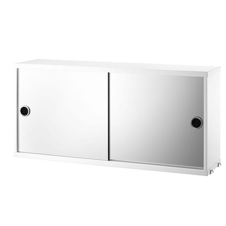 String Kabinet med Spejllåger Hvid 78 x 20 cm
