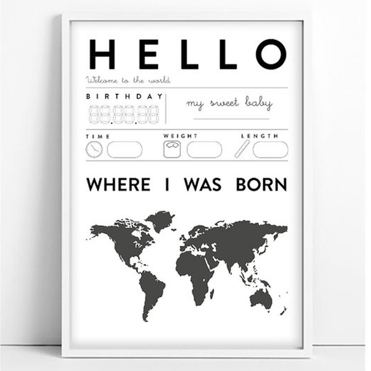 Tellkiddo Print Baby Hello Detail A4