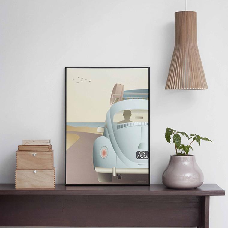 Vissevasse VW Beetle plakat